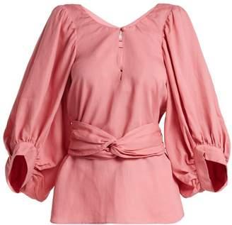 Apiece Apart Volya Linen Blend Balloon Sleeve Top - Womens - Light Pink