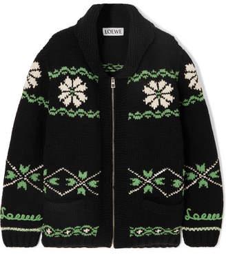 Loewe Cashmere And Wool-blend Jacquard Cardigan - Black