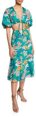 Aidan Mattox Floral-Print Two-Piece Tie-Front Crop Top & Skirt Set