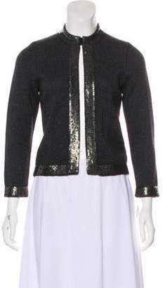 Rena Lange Sequin-Embellished Virgin Wool-Blend Cardigan w/ Tags