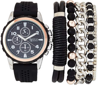 American Exchange MST5412 Silver-Tone & Black Watch & Bracelet Set