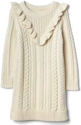 Gap Cable-knit ruffle sweater dress