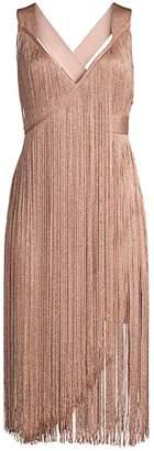 Herve Leger V-Neck Fringe Midi Dress