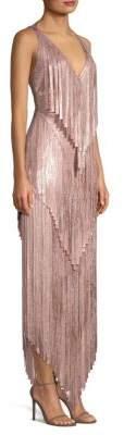 Herve Leger Mid-Calf Foil Fringe Bodycon Dress