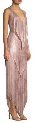 Herve Leger Mid-Calf Foil Fringe Dress