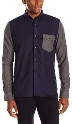 French Connection Men's Pop Flannel Panel Long Sleeve Button-Down Shirt