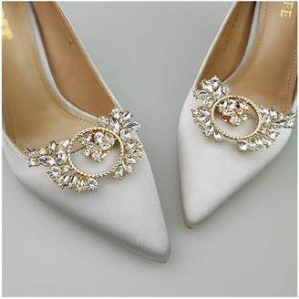 Shoe Accessories Douqu 1 Pair Rhinestone Crystal Bridal Shoes Decoration Wedding Silver Shoe Clips