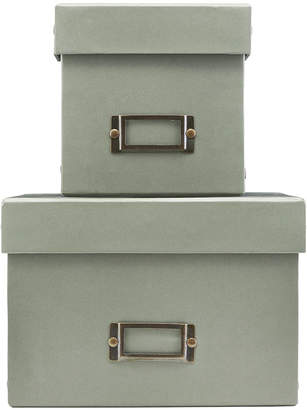 Monograph - Grey Storage Box with Lid - Set of 2 - Square