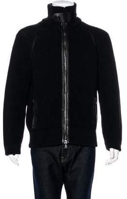 Prada Rib Knit Wool Zip Sweater
