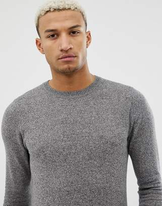 Asos Muscle Fit Cotton Sweater In Gray