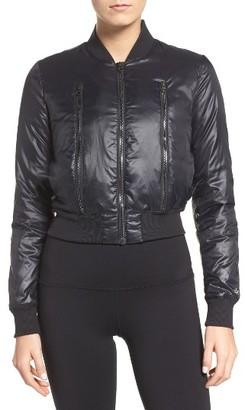 Women's Alo Off-Duty Bomber Jacket $160 thestylecure.com