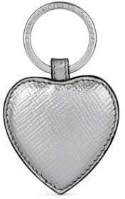Smythson Panama Heart Leather Keychain