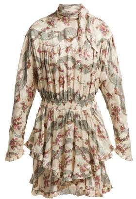 Isabel Marant Josephine Floral Print Silk Blend Dress - Womens - Ivory Multi