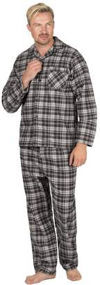 Mens Cargo Bay 100% Cotton Flannel Printed Long Sleeve Pyjamas Set