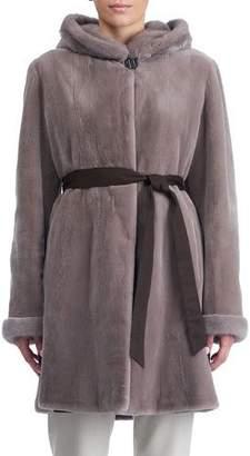 Gorski Sheared Mink Hooded Reversible Coat