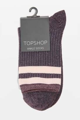 Sporty stripe glitter ankle socks