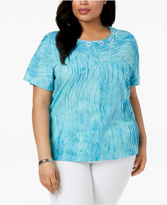 Alfred Dunner Plus Size Turks & Caicos Textured Top