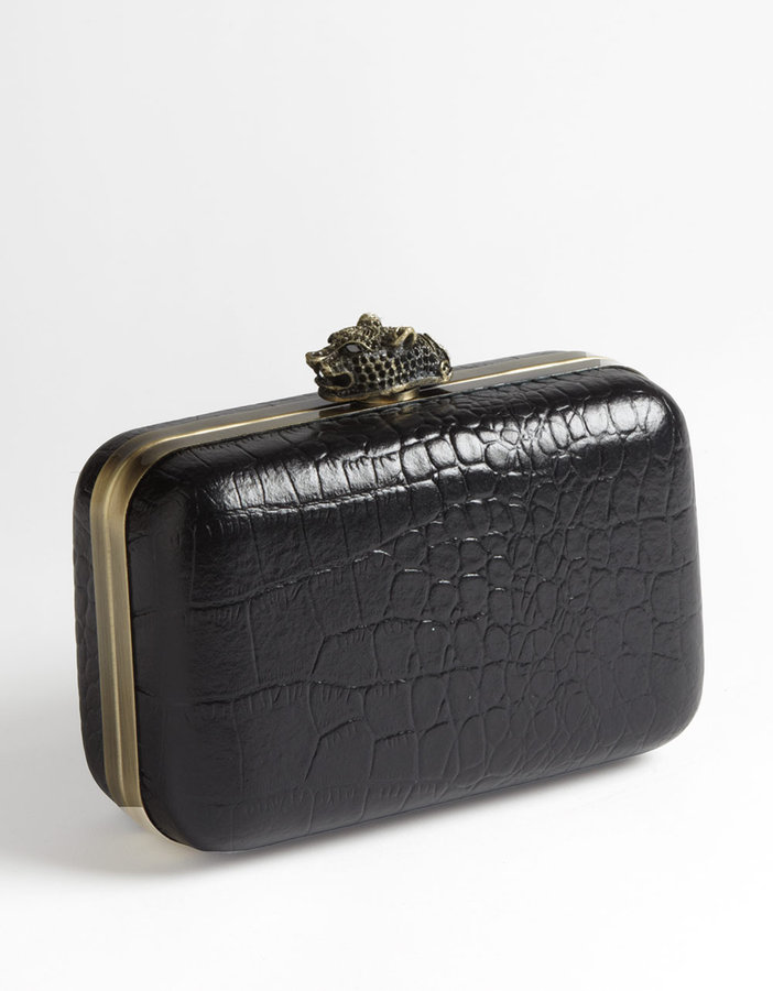 HOUSE OF HARLOW 1960 Olivia Croco Frame Clutch Handbag