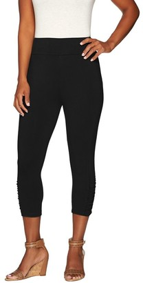 Logo By Lori Goldstein LOGO by Lori Goldstein Capri Leggings with Ruching Details