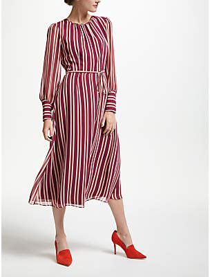 Boden Alba Dress, Red and Pink Stripe