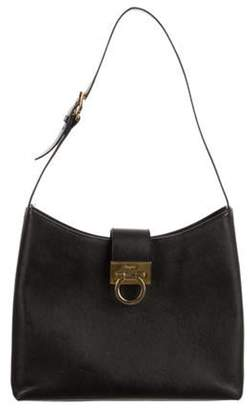 Salvatore Ferragamo Crosshatch Leather Hobo Black Crosshatch Leather Hobo