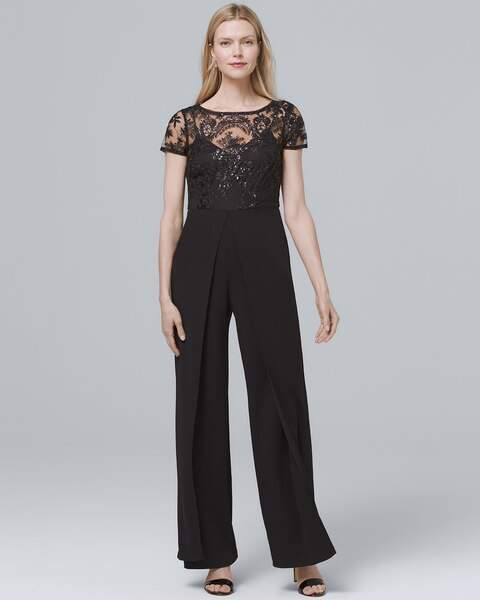 Whbm Lace-Yoke Black Jumpsuit