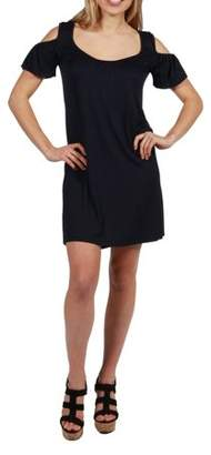 24/7 Comfort Apparel 24Seven Comfort Apparel Blythe Cold Shoulder Short Dress
