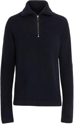 Burberry Zip-neck Cashmere Blend Fleece Sweater