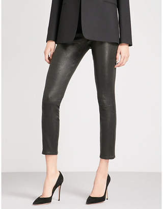 J Brand Alana super-skinny cropped mid-rise leather jeans