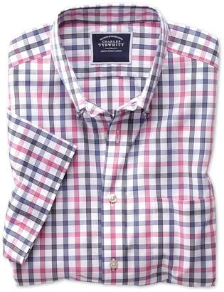 Charles Tyrwhitt Classic Fit Non-Iron Pink Large Check Short Sleeve Cotton Casual Shirt Single Cuff Size Small