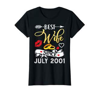 Bny Wedding Anniversary Shirts Womens 18th Wedding Anniversary Shirts Best Wife Since 2001 Shirt
