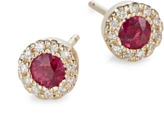 Effy 14K Yellow Gold Ruby Earrings with 0.09 CT. T.W. Diamonds
