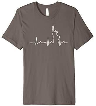 I Love New York Statue of Liberty Heartbeat T-Shirt