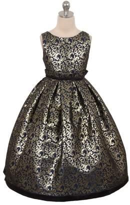 Kids Dream Gianna- Elegant Jacquard Full Dress Navy
