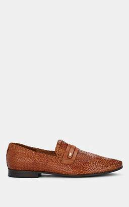 Barneys New York MEN'S WOVEN LEATHER LOAFERS