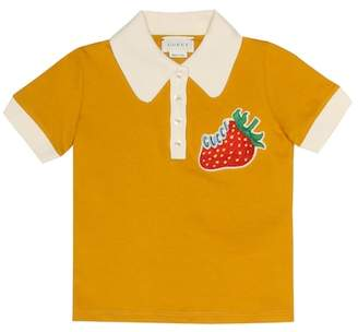 Gucci Kids Appliquéd cotton polo shirt