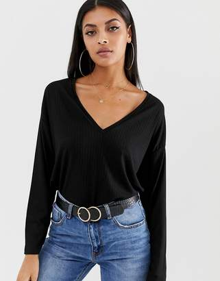 ac9778a1516 Asos Design DESIGN oversized tunic with v-neck in black