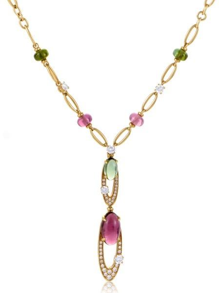 Bvlgari Bulgari 18K Yellow Gold Elisia Diamond and Tourmaline Pendant Necklace