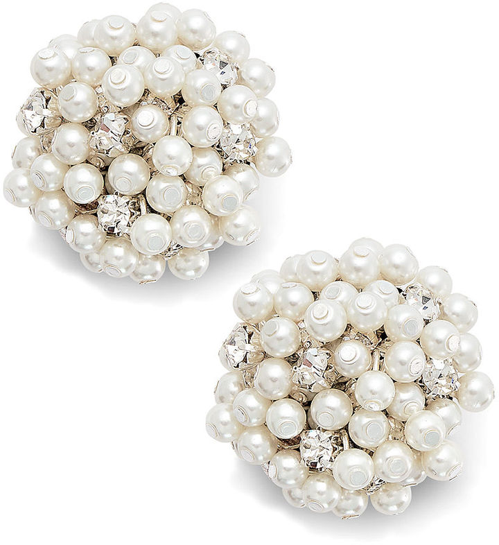 Charter Club Silver-Tone Crystal Cluster and Pearl Bead Button Clip Earrings