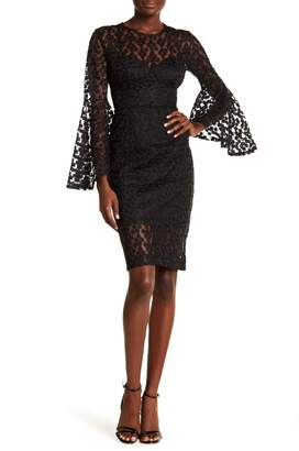 Alexia Admor Crochet Lace Bell Sleeve Dress