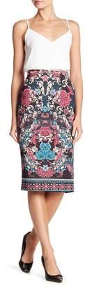 ECI Patterned Scuba Midi Skirt