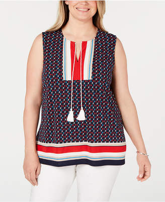 Charter Club Plus Size Printed Sleeveless Tie Top