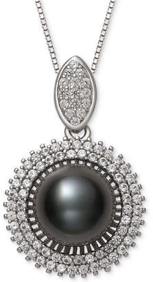 "Belle de Mer Cultured Black Tahitian Pearl (9mm) & Cubic Zirconia 18"" Pendant Necklace in Sterling Silver"