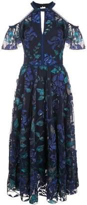 Marchesa floral cold shoulder dress