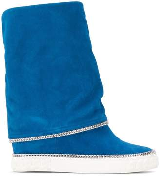 Casadei chain trimmed wedge boots
