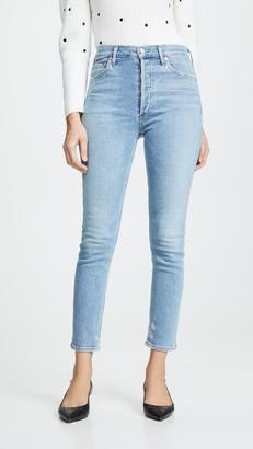 A Gold E Agolde Hi Rise Nico Slim Fit Jeans