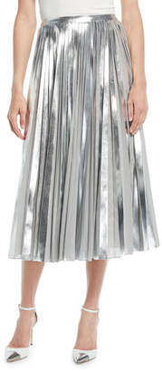 Ralph Lauren Nevina Metallic-Pleated Midi Skirt