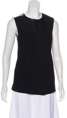 Gucci Leather-Trimmed Sleeveless Top
