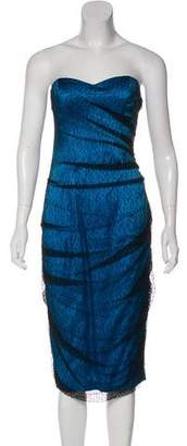Christian Cota Strapless Silk Dress