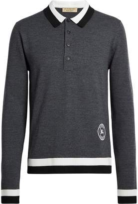 Burberry Stripe Detail Merino Wool Long-sleeve Polo Shirt
